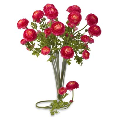 Nearly Natural Silk 23-Inch Beauty Pink Ranunculus Stems (Set of 12)