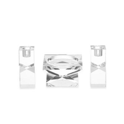 Oleg Cassini Lexington 3-Piece Pillar & Taper Candleholder Set