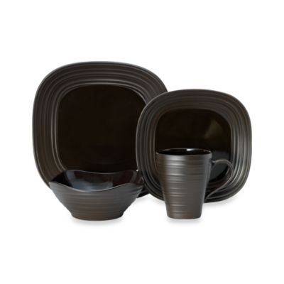 Mikasa® Swirl Square Chocolate 4-Piece Place Setting