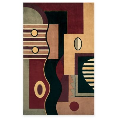 "KAS Signature 3' 6"" x 5' 6"" Hand-Tufted Wool Area Rug (Jewel Tone Multishapes)"