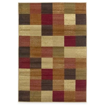 KAS Lifestyles Beige Squares Area Rug - 2-Foot 3-Inch x 7-Foot 7-Inch