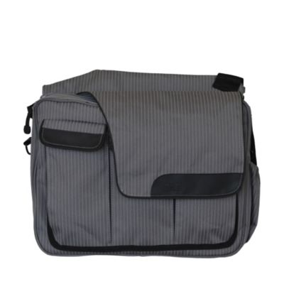 Diaper Dude® Messenger II Diaper Bag in Retro Grey Pinstripe