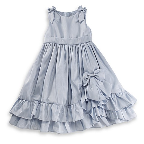 Nancy Blue Shantung Vintage Dress with White Bodice - 12 Months