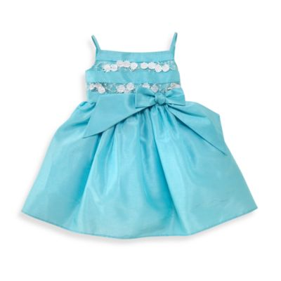 Kim Turquoise Shantung Dress with Lace Bodice