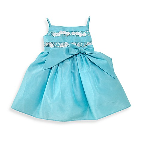 Kim Turquoise Shantung Dress with Lace Bodice - 12 Months