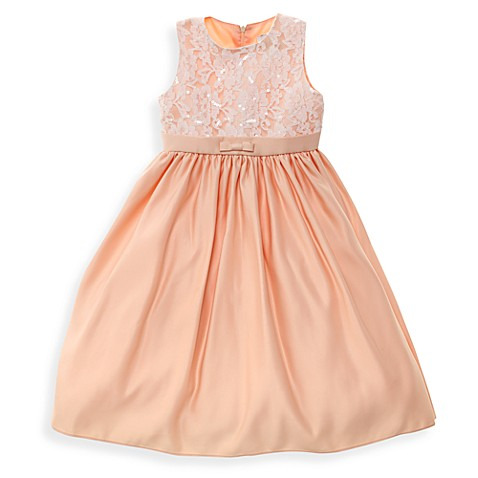 Gwen Peach Dress with Lace Beaded Bodice - 12 Months