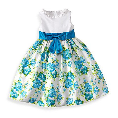 Emily Aqua/White Floral Dress with White Bodice