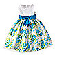 Emily Size 4T Floral Dress with White Bodice in Turquoise