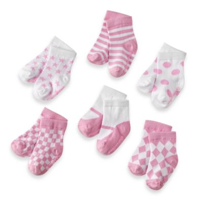 Elegant Baby® My Baby Pinks Size 0-12M Socks (Set of 6)