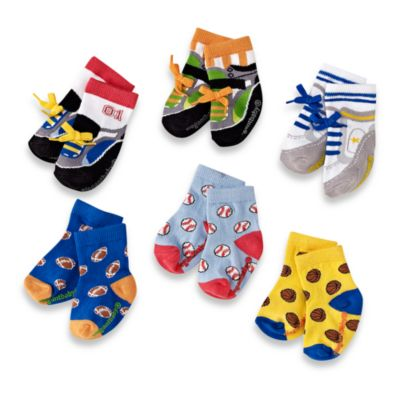 Athletic All Stars Size 0 to 12 Months Socks by Elegant Baby (Set of 6)