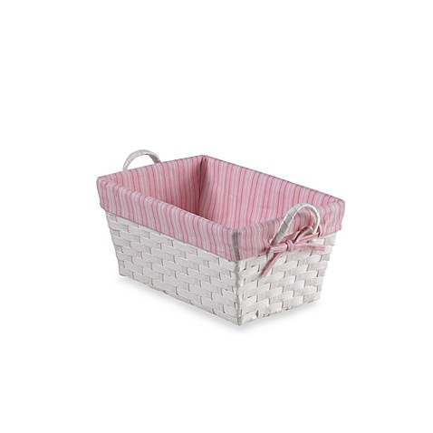 Natural String Small Basket with Stripe Liner in Pink