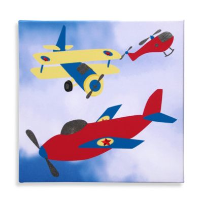 Studio Arts Kids Yellow Wing Plane Embellished Wall Art