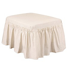 Cotton Duck Natural Ottoman Slipcover