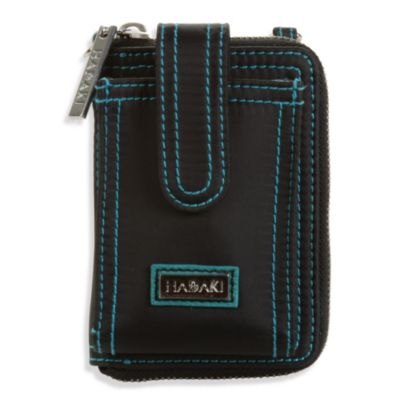HADAKI® by Kalencom Nylon Essentials Wristlet in Black w/Teal Trim