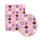 Aquatopia™ Hippo Pink Memory Foam Bath Mat and Lid Cover Set