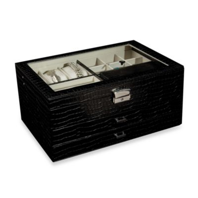Mele & Co. Alana Glass Top & Croco Faux Leather Jewelry Box in Black