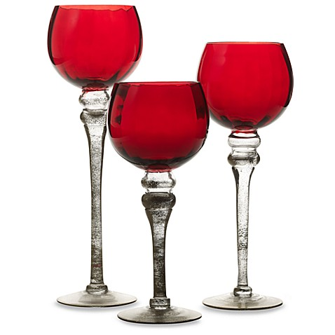 Charisma Red Hurricane Candleholders (Set of 3)