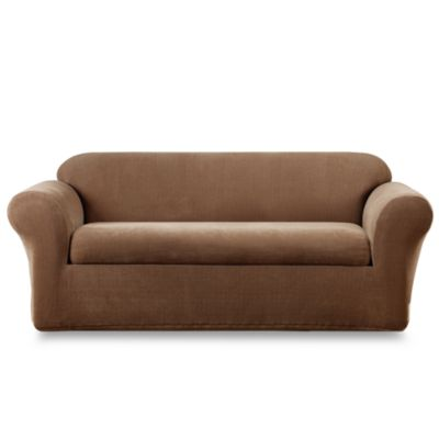Sure Fit® Stretch Metro Brown Two-Piece Sofa Slipcover
