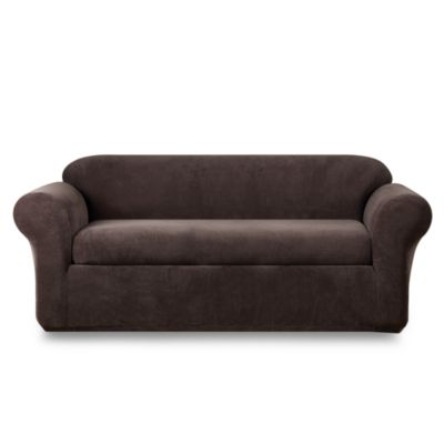 Sure Fit® Stretch Metro Espresso Two-Piece Sofa Slipcover