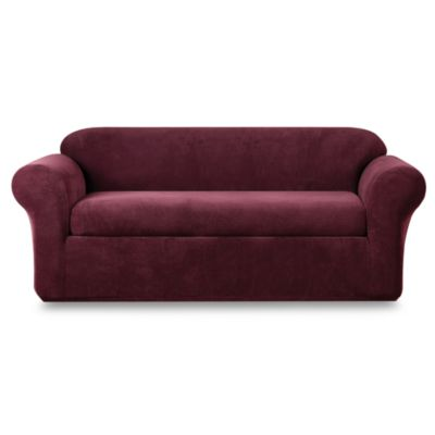 Sure Fit® Stretch Metro Burgundy Two-Piece Sofa Slipcover