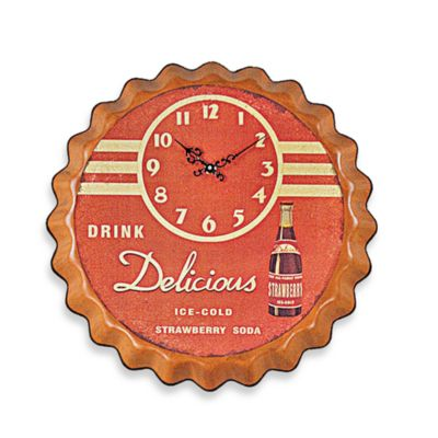 Strawberry Soda Metal Wall Clock