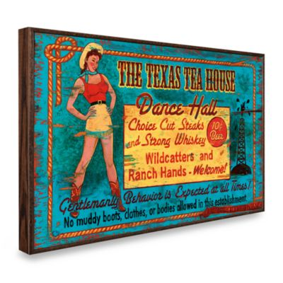 Texas Tea Hall Vintage Wall Plaque