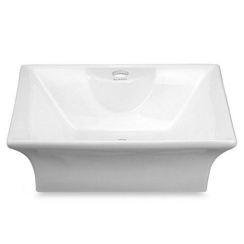 Elanti EC9839 Porcelain White Above Counter Curved Rectangle Sink