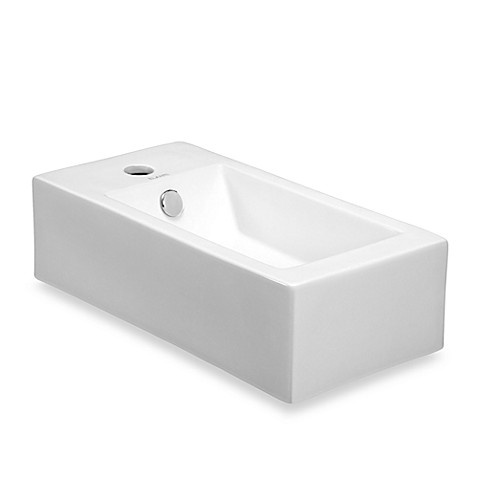 Elanti EC9899-R Porcelain White Wall-Mounted Rectangle Right-Facing Sink