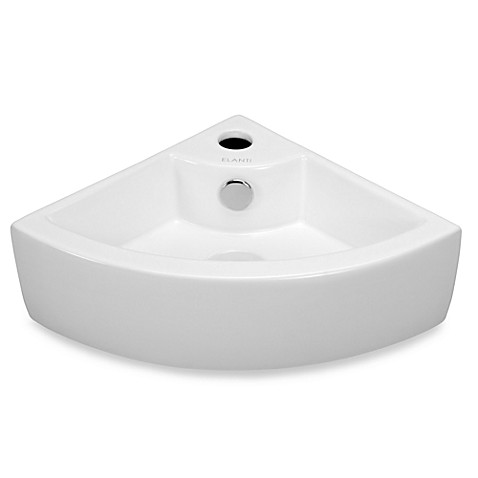 Elanti EC9808 Porcelain White Wall-Mounted Corner Sink