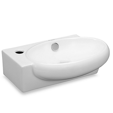 Elanti EC9888-R Porcelain White Wall-Mounted Oval Right-Facing Sink