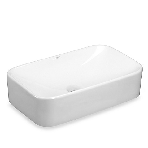 Elanti EC9848 Porcelain White Vessel Curved Rectangle Sink