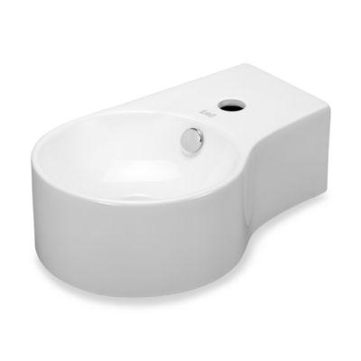 Elanti EC9849-L Porcelain White Wall-Mounted Round Deep Bowl Left-Facing Sink