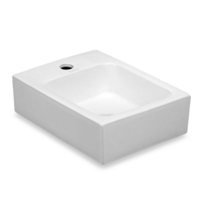 Elanti 1101 Porcelain Wall-Mounted Rectangular Compact Sink