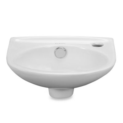 Elanti 1105 Porcelain Wall-Mounted Oval Compact Sink