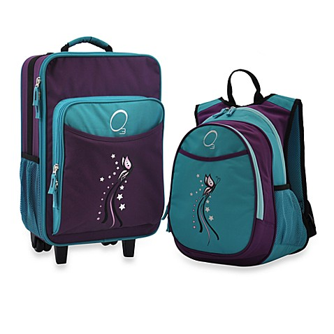 O3 Kids Luggage & Backpack Set with Cooler in Butterfly in Turquoise