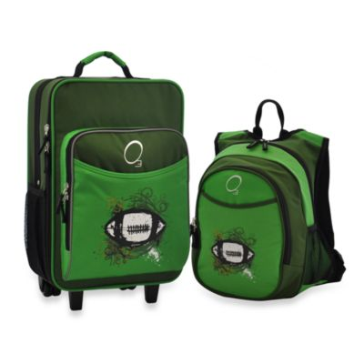 O3 Kids Luggage & Backpack Set with Cooler in Green Football