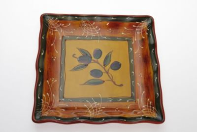 Certified International French Olives by Stephanie Vacher 13 1/4-Inch x 13 1/4-Inch Square Platter