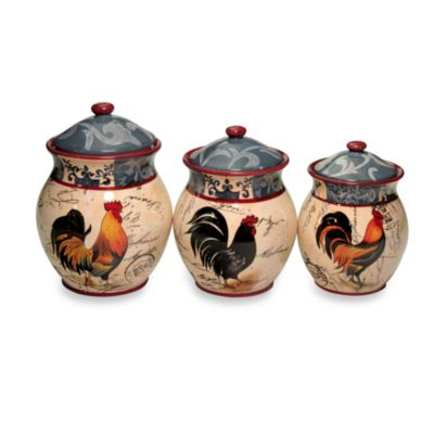 Certified International Lille Rooster 3-Piece Canister Set