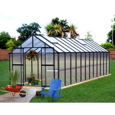 Riverstone Monticello 8-Foot x 24-Foot Residential Greenhouse in Black
