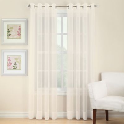 Voile 84-Inch Sheer Window Panels With Grommets in White
