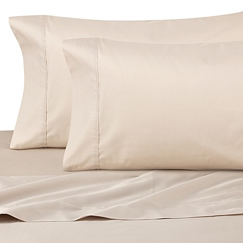 Cotton Percale 200 Thread Count Twin XL Sheet Set in Taupe
