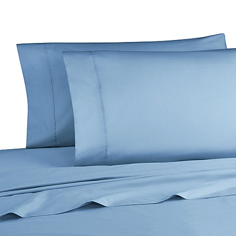 Cotton Percale 200 Thread Count Queen Sheet Set in Denim