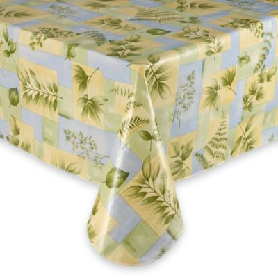 Leaf Melody Vinyl Tablecloth 70-Inch Round Umbrella in Blue/Yellow
