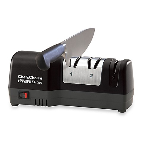 chef 39 schoice hybrid 250 diamond hone knife sharpener in black bed bath beyond. Black Bedroom Furniture Sets. Home Design Ideas