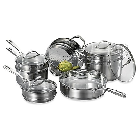Cat Cora Stackable Stainless Steel 12-Piece Cookware Set