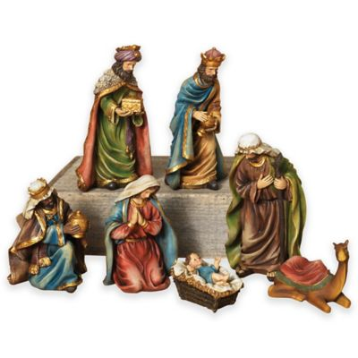 Gerson 7-Piece Resin Christmas Nativity Set