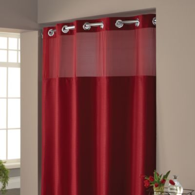 Hookless® Waffle Fabric Shower Curtain and Liner Set in Red