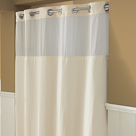 Hookless® Waffle 71-Inch x 74-Inch Fabric Shower Curtain and Liner Set in Cream