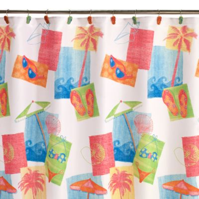 Miami Beach 70-Inch x 70-Inch Fabric Shower Curtain
