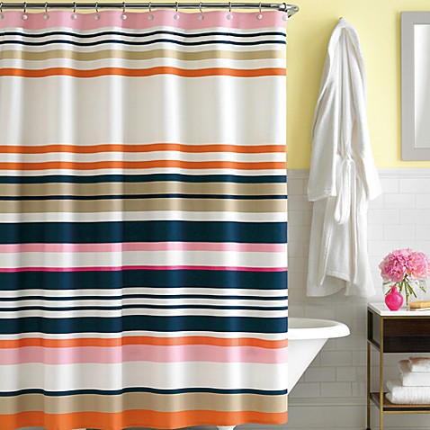 kate spade new york Candy Shop Stripe 72-Inch x 72-Inch Fabric Shower Curtain